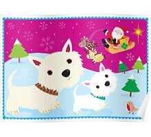 Westies and Santa Claus Poster
