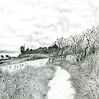 Coastal path at Crail in Scotland [Pencil version] by Grant Wilson