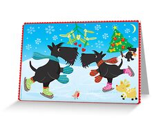 Ice Skating Scottie Dogs Greeting Card