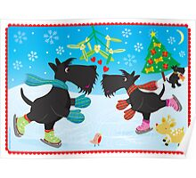 Ice Skating Scottie Dogs Poster