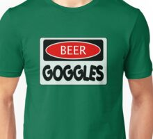BEER GOGGLES, FUNNY DANGER STYLE FAKE SAFETY SIGN Unisex T-Shirt
