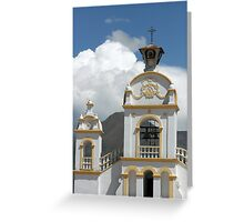 Quiroga Church With Storm Clouds on Mount Cotacachi Greeting Card