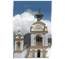 Quiroga Church With Storm Clouds on Mount Cotacachi Poster