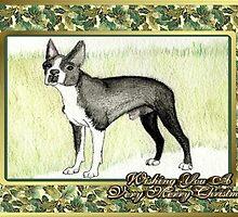 Boston Terrier Dog Christmas by Oldetimemercan