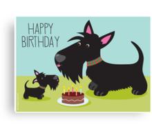 Birthday Cake and Scotties Canvas Print