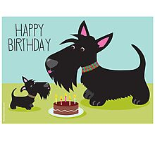 Birthday Cake and Scotties Photographic Print
