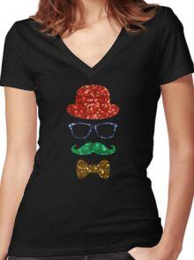 christmas hipster mustache Women's Fitted V-Neck T-Shirt