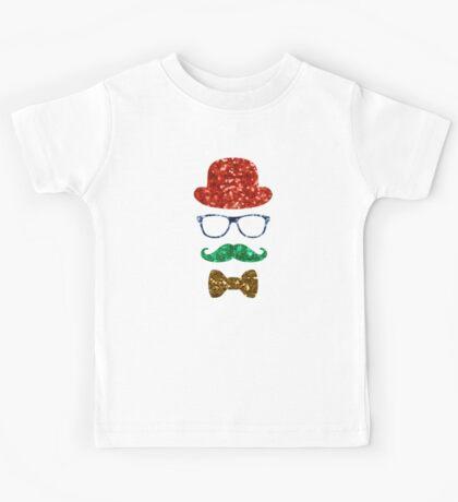 christmas hipster mustache Kids Tee