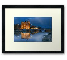 bunratty castle durty nellys nellies at night water reflection county clare ireland Framed Print