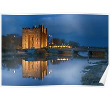 bunratty castle durty nellys nellies at night water reflection county clare ireland Poster