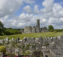 Quin Abbey County Clare Ireland Landmark Scenic Landscape by upthebanner