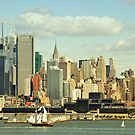 new york cityscape skyline landmark hudson river sailing ship by Noel Moore Up The Banner Photography