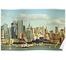 new york cityscape skyline landmark hudson river sailing ship Poster