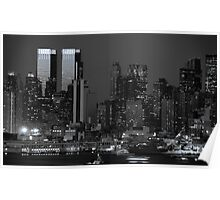 new york cityscape skyline night landmark hudson river night Poster