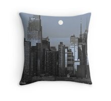 new york cityscape skyline landmark hudson river night Throw Pillow