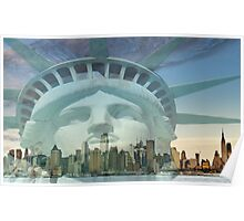 new york cityscape skyline landmark hudson river Poster