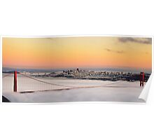san francisco sunset golden gate bridge skyline cityscape Poster