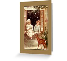 Holiday Greeting-Girls with Deer Greeting Card