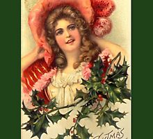 Holiday Greeting-Woman with Holly by Yesteryears