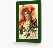 Holiday Greeting-Woman with Holly Greeting Card