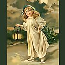 Holiday Greeting-Girl with Lantern by Yesteryears