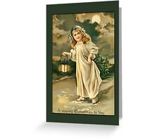 Holiday Greeting-Girl with Lantern Greeting Card