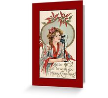 Holiday Greeting-Woman on Telephone Greeting Card
