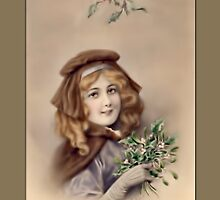 Holiday Greeting-Girl with Flowers by Yesteryears