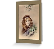 Holiday Greeting-Girl with Flowers Greeting Card
