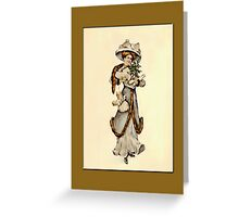 Holiday Greeting-Victorian Woman with Gifts Greeting Card
