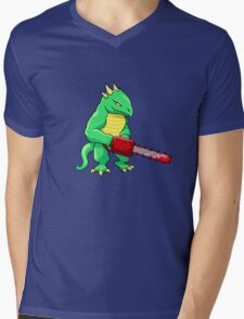 LIZARD MAN WITH CHAINSAW Mens V-Neck T-Shirt