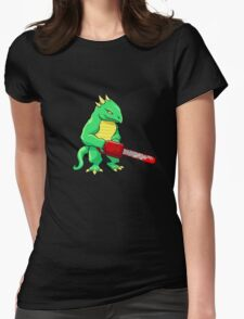 LIZARD MAN WITH CHAINSAW Womens Fitted T-Shirt