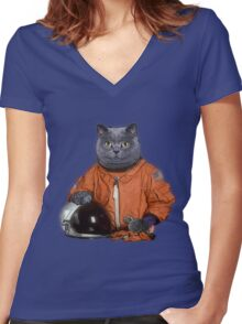 Astrocat Women's Fitted V-Neck T-Shirt