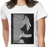 """""""blinded"""" Noir Nude. Photo turned stencil painting. Womens Fitted T-Shirt"""