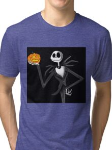 Jack Skellington and his pumpkin Tri-blend T-Shirt
