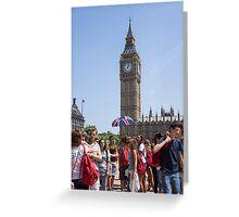 tourists view big ben Greeting Card