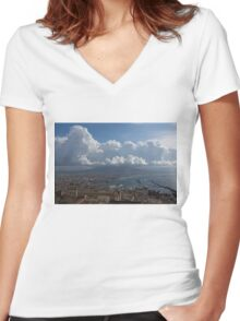 Cruising Into the Port of Naples, Italy Women's Fitted V-Neck T-Shirt