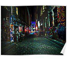 Graffiti Street at Night, Melbourne, Australia Poster
