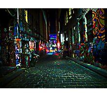 Graffiti Street at Night, Melbourne, Australia Photographic Print