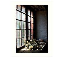 Flowers in the window. Art Print