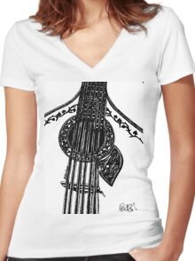 Fado Guitar Women's Fitted V-Neck T-Shirt