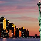 new york downtown cityscape skyline landmark hudson river statue liberty by Noel Moore Up The Banner Photography
