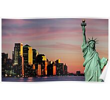 new york downtown cityscape skyline landmark hudson river statue liberty Poster
