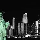 new york night black white cityscape skyline landmark hudson river statue liberty by Noel Moore Up The Banner Photography