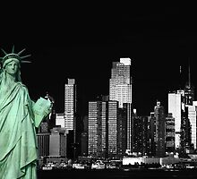 new york night black white cityscape skyline landmark hudson river statue liberty by upthebanner