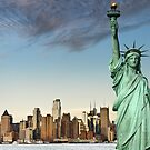 new york midtown cityscape skyline landmark hudson river statue liberty by Noel Moore Up The Banner Photography