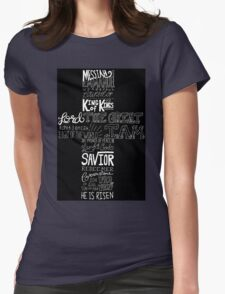 Typography Chalkboard Cross Names of Jesus Womens Fitted T-Shirt