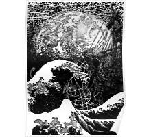"""Critical Mass"" Katsushika Hokusai's Great Wave and the earth. Ink Poster"