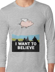 The X-Files: I Want to Believe Poster Flying Pig Spoof Long Sleeve T-Shirt