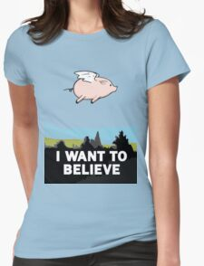 The X-Files: I Want to Believe Poster Flying Pig Spoof Womens Fitted T-Shirt